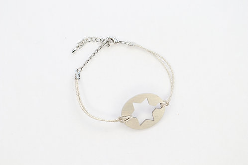 Jewish Star Matte Silver Plated Bracelet