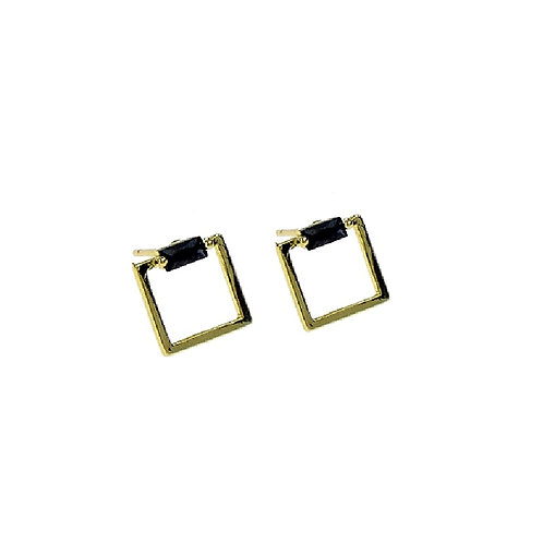 Hollow Onyx Square Earring