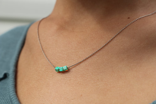 Square Bead Opal Necklace