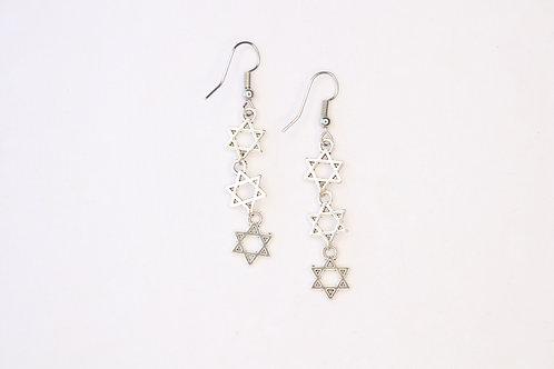 Triple Jewish Star Drop Earrings