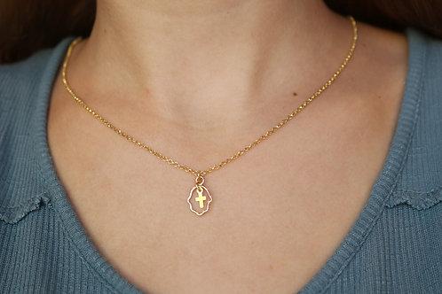 Hamsa Cross Gold-Filled Necklace
