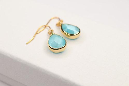 Aqua Crystal Drop Earrings