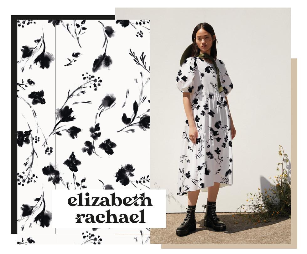 Black painterly Floral on White Dress