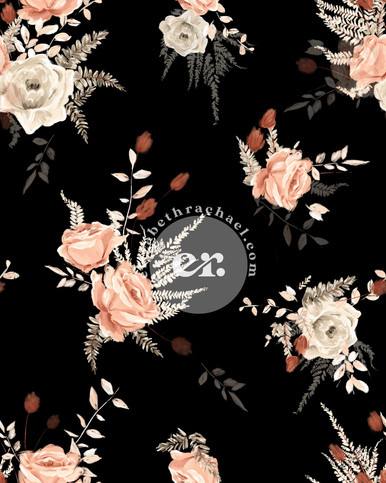 Digitally drawn black floral