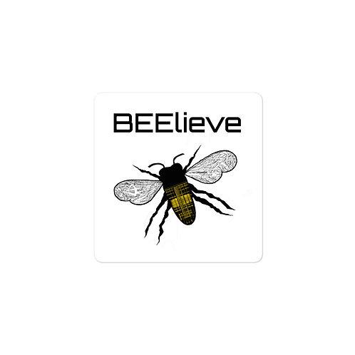 BEElieve Plaid Honeybee Bubble-free vinyl sticker