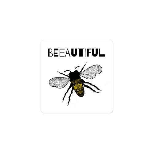 BEEautiful Plaid Honeybee Bubble-free vinyl sticker
