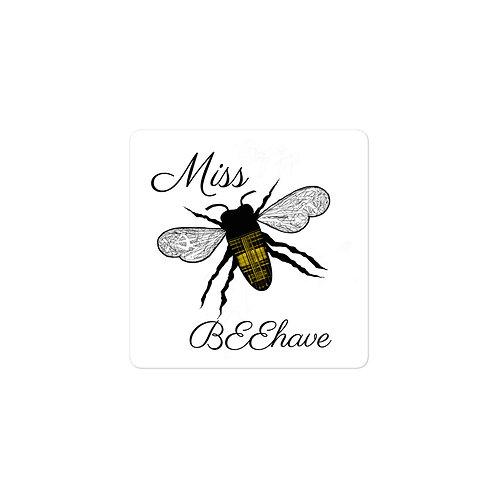 Miss BEEhave Plaid Honeybee Bubble-free vinyl