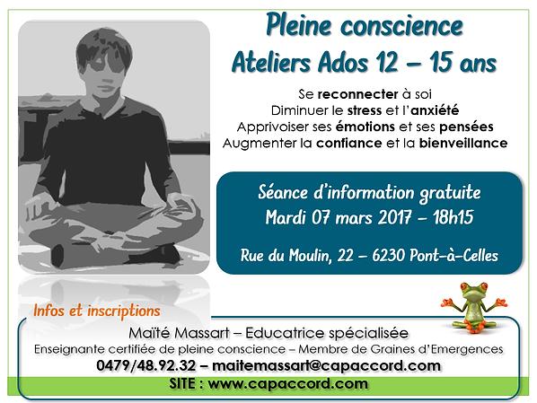 pleine conscience mindfulness ados adolescents Charleroi Nivelles Pont-à-Celles Luttre