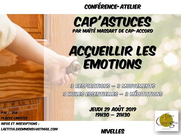 Maïté Massart CAP-Accord Centre la Campagne CAP'Astuces Accueillir les émotions Pont-à-Celles Nivelles Charleroi