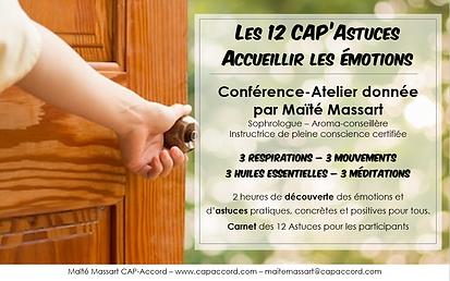 Maïté Massart CAP-Accord Conférence Atelier CAP'Astuces Aroma Accueillir les  émotions