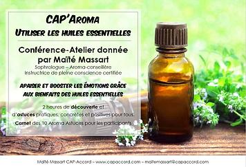 Maïté Massart CAP-Accord Conférence Atelier CAP'Aroma Huiles essentielles et émotions
