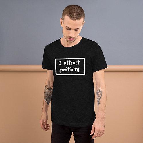 I Attract Positivity (White Text) Short-Sleeve Unisex T-Shirt