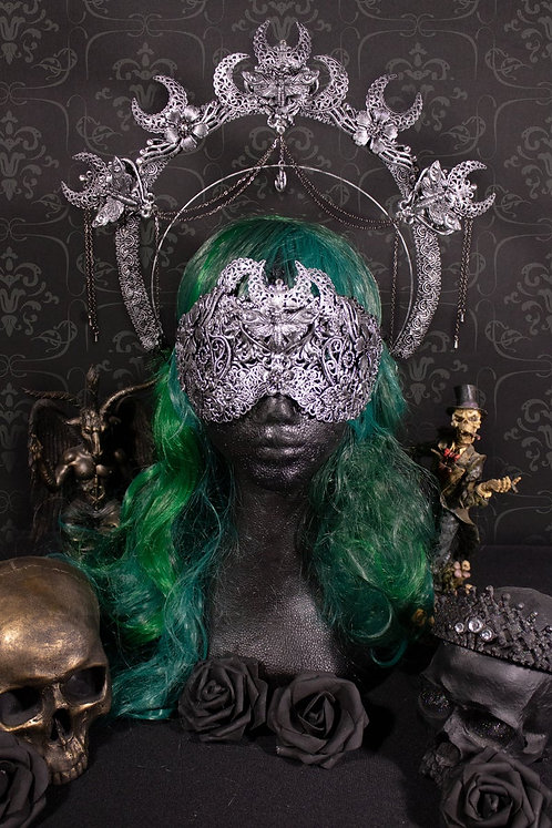 "GOTHIC FANTASY SET ""MOTHECY"" - CONSISTING OF BLIND MASK & HALO"