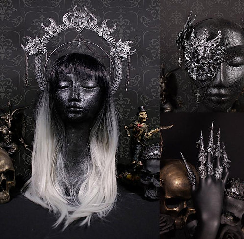 """FANTASY GOTHIC SET """"CRESCENT LOVE"""" - CONSISTING OF HALO, EYEPATCH & CLAWS"""