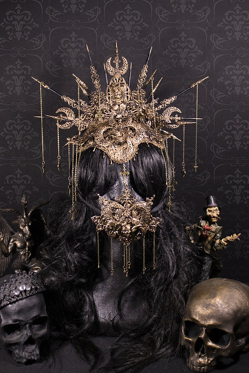 """SET II HEADPIECE, FOREHAED CAP & MOUTHPATCH """"CRESCENT MOON"""""""