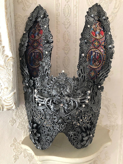 STAINED GLASS CATHEDRAL RABBIT MASK