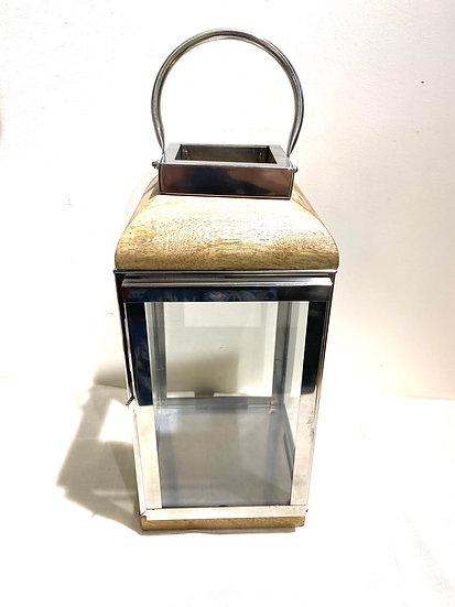 Lanterna inox com madeira G