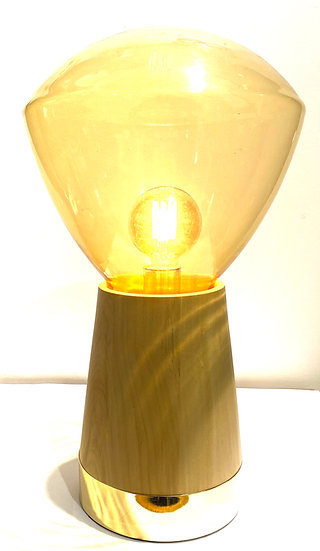 Luminária de Madeira com Cúpula de Cristal