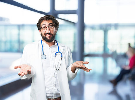 young funny man confused. doctor concept