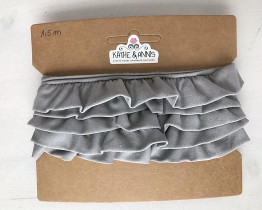 Jerseyvolant, grau , 3,0 cm