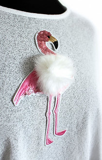 Flamingoapplikation (weiß)
