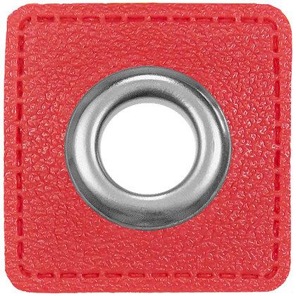 Ösenpatch Quadrat - Rot