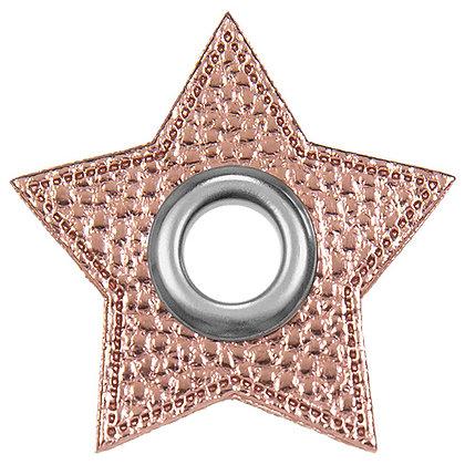 Ösenpatch Stern - Rosa Metallic