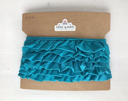 Jerseyvolant, blau, 3,0 cm