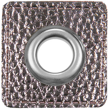 Ösenpatch Quadrat - Silber Metallic
