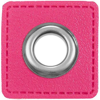 Ösenpatch Quadrat - Pink