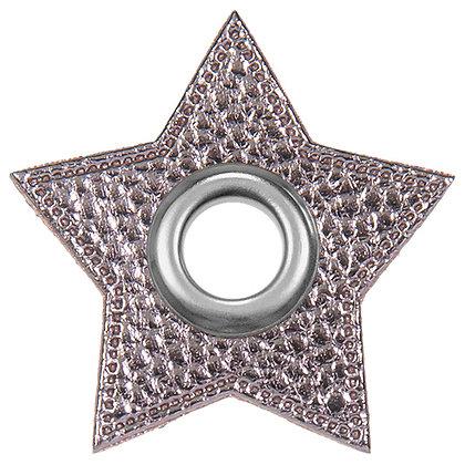 Ösenpatch Stern - Grau Metallic