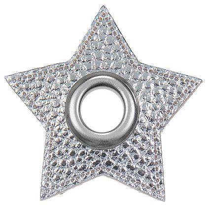 Ösenpatch Stern - Silber Metallic