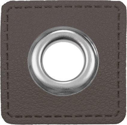 Ösenpatch Quadrat - Dunkelgrau