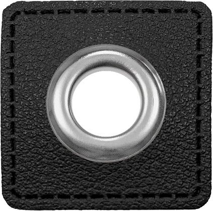 Ösenpatch Quadrat - Schwarz