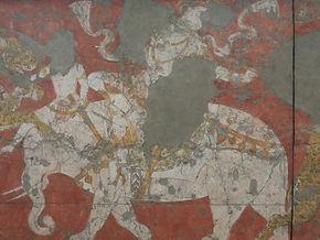 ウズベキスタン、ブハラ、ワラフシャ遺跡出土の壁画(ウズベキスタン国立美術館蔵).