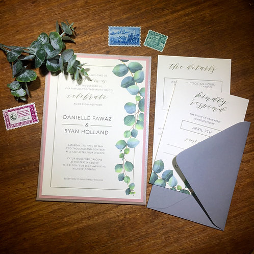 Silver Dollar Eucalyptus Invitation Suite