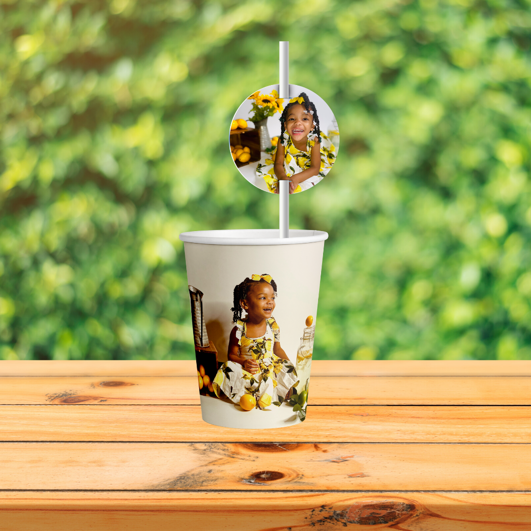 Custom Cup Wrapper and Straw Topper