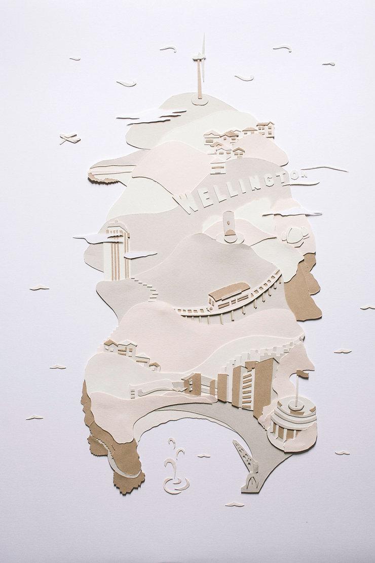 Oeuvre Greetings papier découpé Roar Gallery