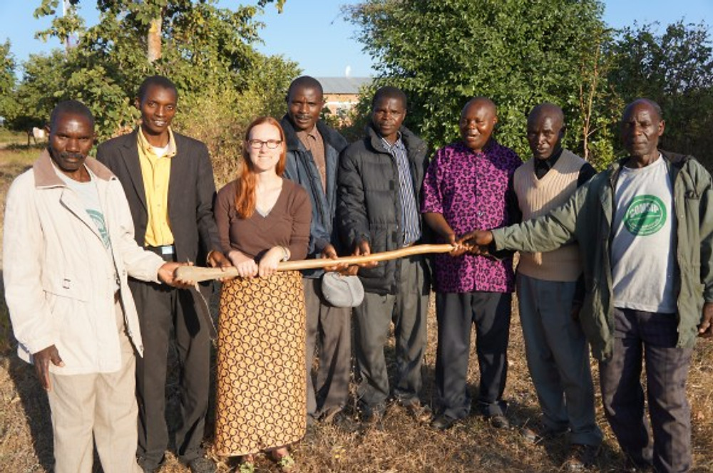 Partners together. Tanya with the leadership of the Manyamula COMSIP Cooperative