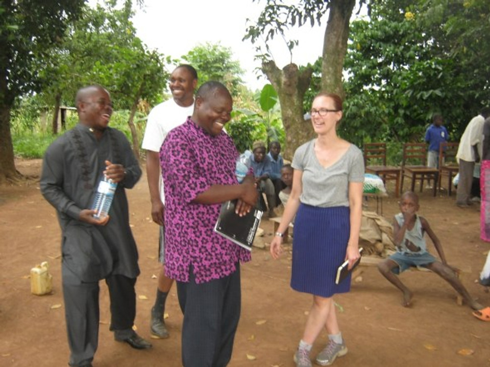 Even though it's blurry, I love the camaraderie and joy that is evident in this scene. A moment of downtime in the midst of visiting Small Business Fund groups in Uganda in 2014.
