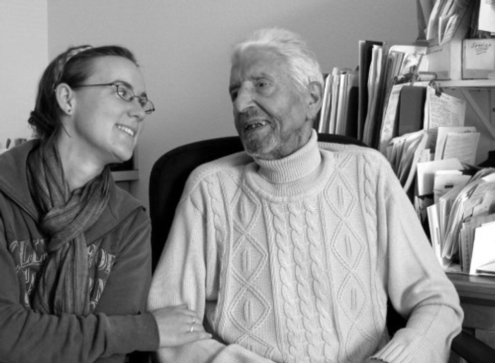 Del and Tanya at Del's desk in 2006