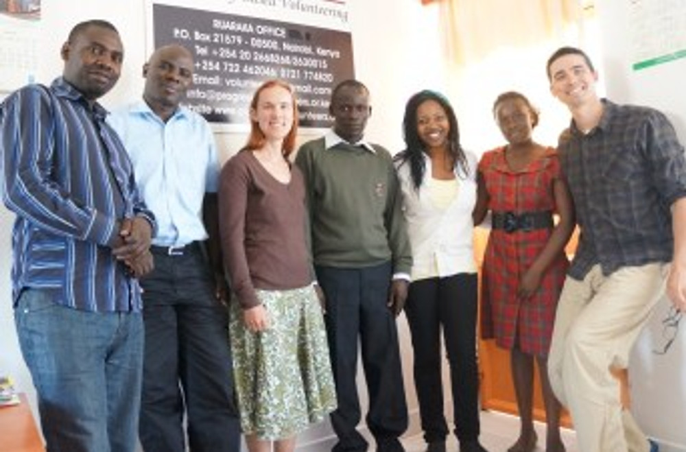 Boyd, Tanya, and the PV team meet to discuss the potential of local volunteers to improve Nairobi's schools and environment. (July 2014)
