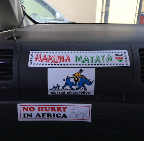 bumper stickers saying Hakuna Matata and No Hurry in Africa