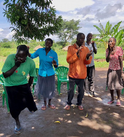 women dancing outside