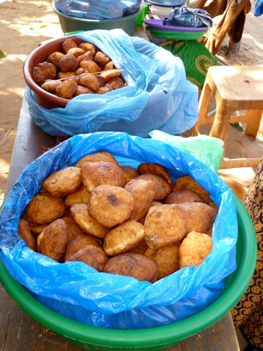 Donuts for sale in the market in Malawi.