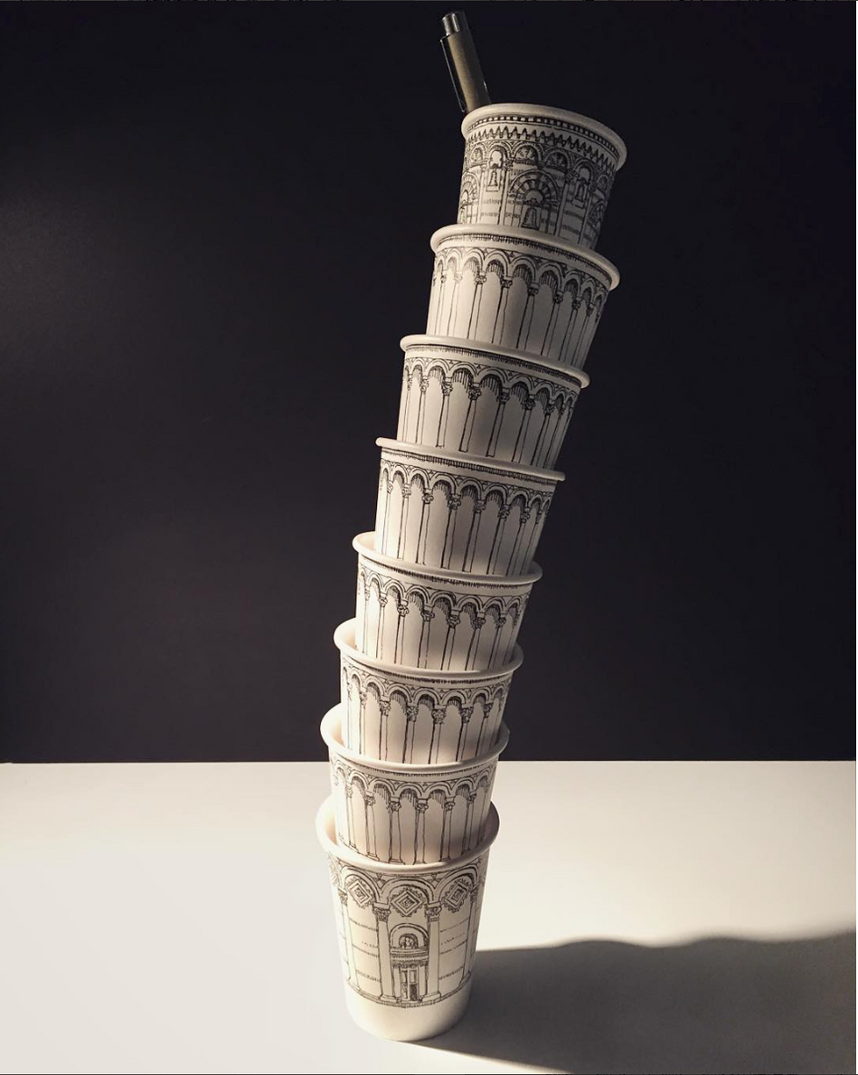 Leaning Tower of Coffee Cups