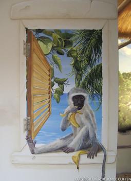 Detail of a whole room Caribbean mural Trompe L'Oeil Window