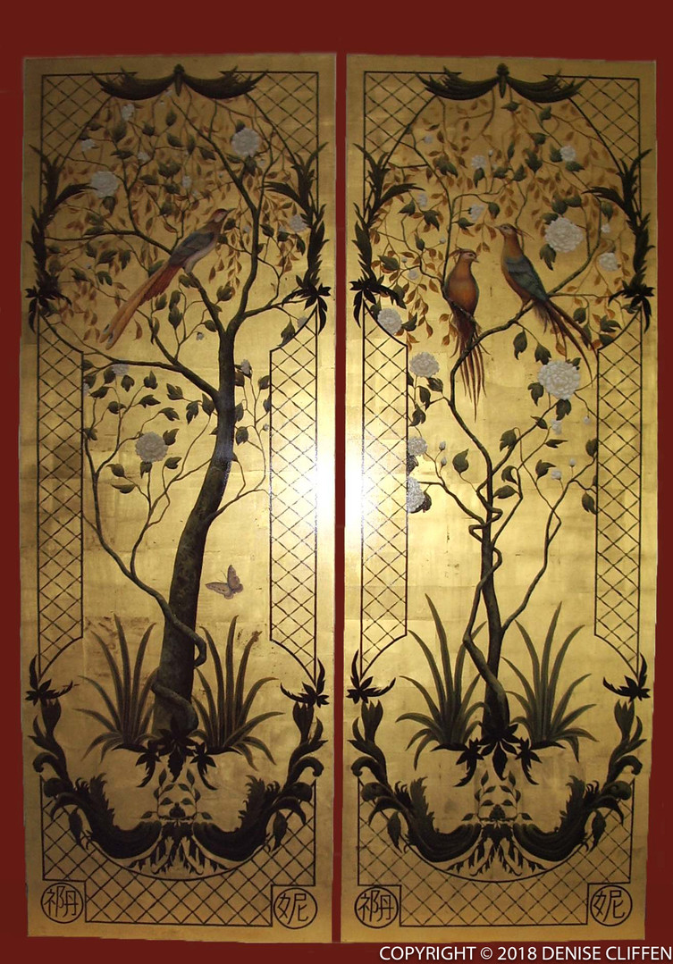 Large Chinoiserie Panels on pure gold leaf ©Denise Cliffen