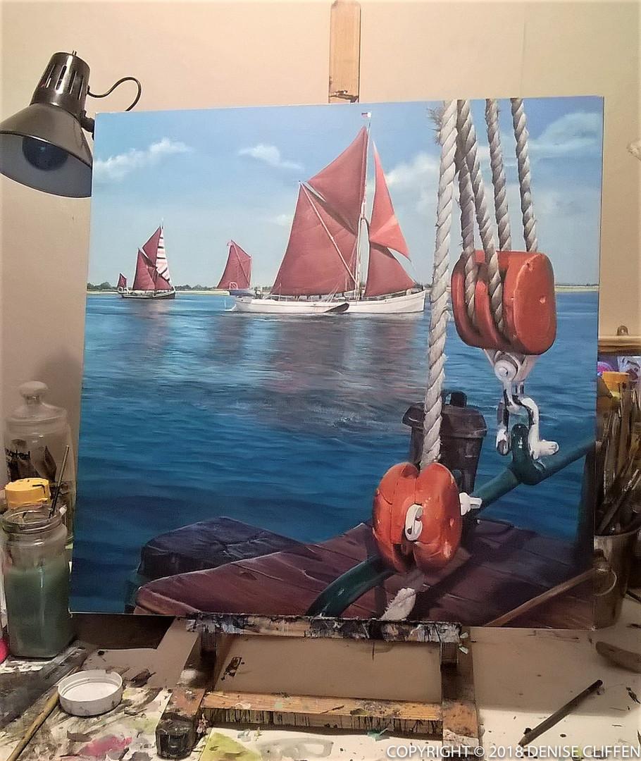 Thames Barges Canvas ©Denise Cliffen