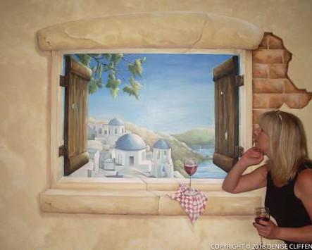 Trompe L'Oeil Window - Greek Island View
